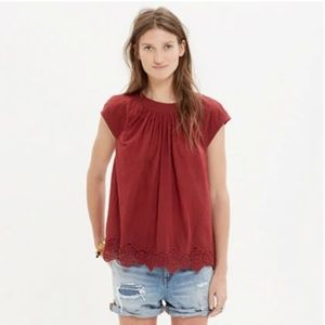 Madewell Eyelet-Gem Stitched Peasant Top Red
